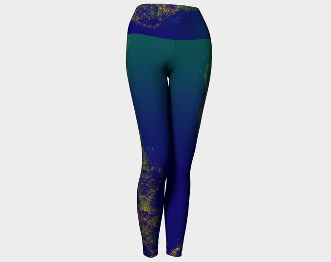 Dusty Gold Helix Yoga Leggings, Blue and Gold Leggings, Yoga Leggings, Printed Leggings, Yoga Pants, Yoga Tights, Women's Tights