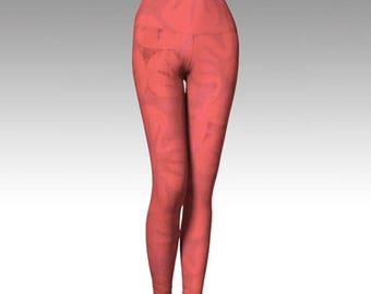 Pink Hibiscus Yoga Leggings