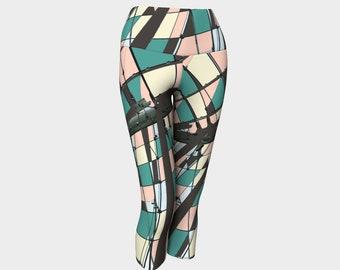 Neopolitan Women's Capris, Yoga Capris, Yoga Leggings, Geometric Capris, Geometric Leggings, Capris, Workout Pants