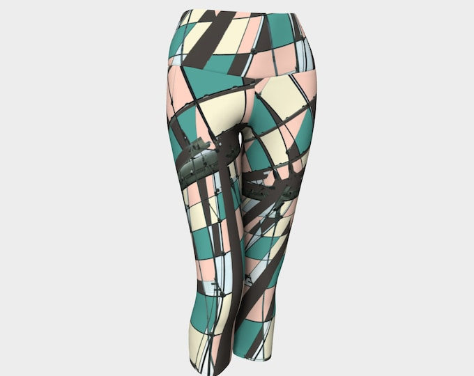 Neopolitan Women's Capris, Yoga Capris, Yoga Leggings, Geometric Capris, Geometric Leggings, Capris, Workout Pants