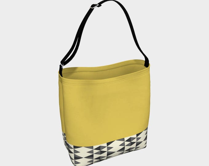Mustard Tribal Tote Bag, Large Tote Bag, Versatile Tote Bag, Roomy Tote, Beach Bag, Market Bag, Book Bag