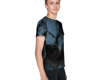 Black and Blue Organic Design Youth T-Shirt