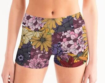 Women's Mid-Rise Yoga Shorts ExplodingFlowers.02