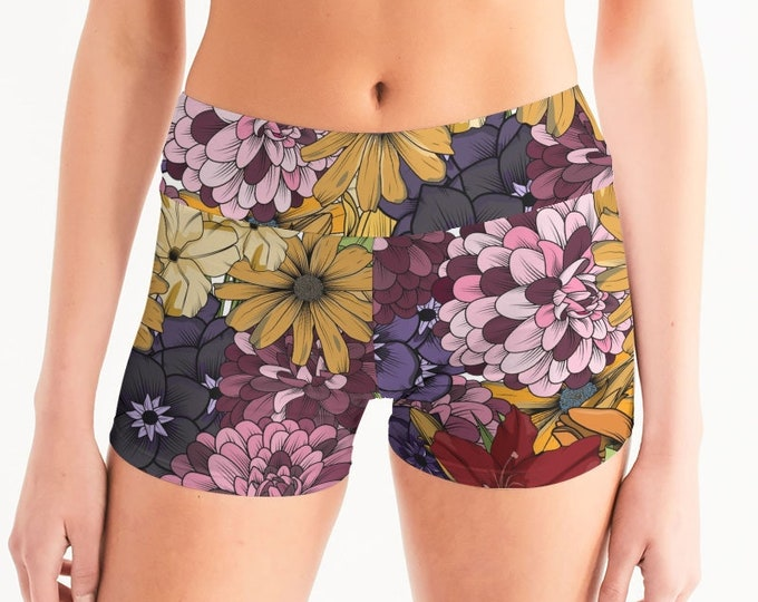 Featured listing image: Women's Mid-Rise Yoga Shorts ExplodingFlowers.02
