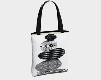 Stacking Stones Tote Bag, Tote Bag, Canvas Tote Bag, Black and White Tote, Shoulder Bag, Basic Tote Bag, Urban Tote Bag, Tote with Pockets