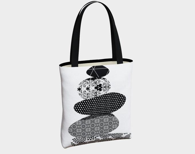 Stacking Stones Tote Bag, Tote Bag, Canvas Tote Bag, Black and White Tote, Shoulder Bag, Basic Tote Bag, Urban Tote Bag, Tote with Pockets