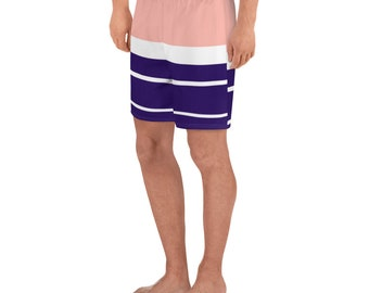 Salmon and Navy Striped Men's Swim Trunks/Athletic Long Shorts