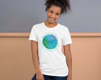 Paper, Plastic or Planet? Short-Sleeve Unisex T-Shirt, Climate Change Awareness