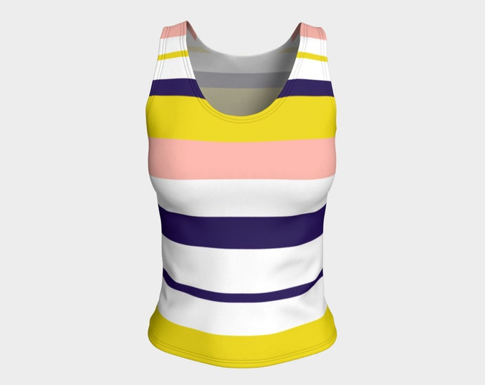 Striped Tank Top, Preppy Style Tank for women