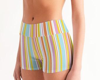 Women's Mid-Rise Summer Stripes Yoga Shorts