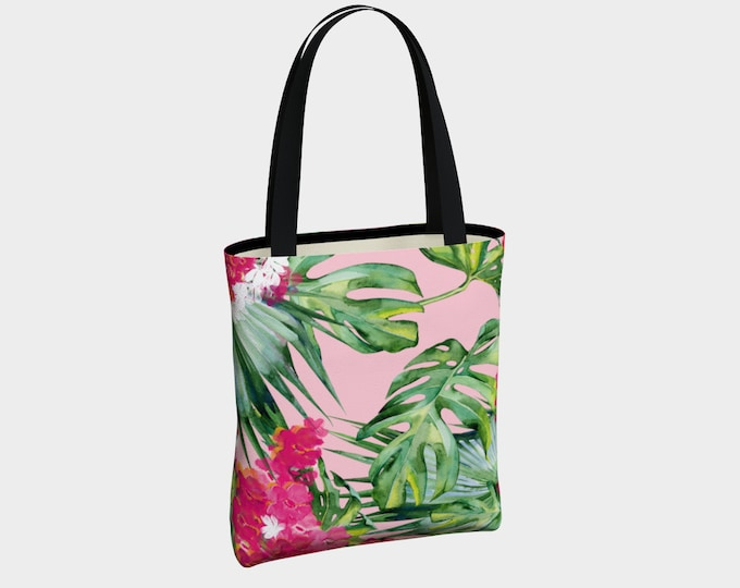 Tropical Paradise Canvas Tote Bag, Floral Shoulder Bag, Canvas Tote Bag with Pockets, Fashion Tote Bag, Everyday Tote Bag