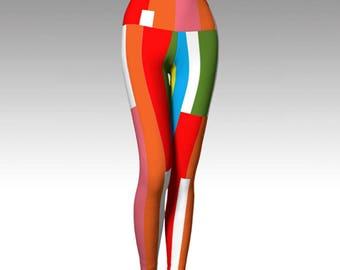 Fruit Stripe Leggings, Yoga Leggings, Yoga Pants, Printed Leggings, Women's Leggings, Boho Leggings, Leggings, Yoga Wear, Women's Clothing