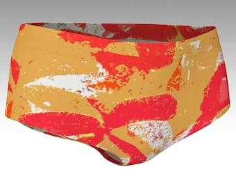 Tropical Red and Gold Flowers Bikini Bottoms, Women's Shorts, Yoga Shorts, Swim Shorts, Swim Bottoms, Athletic Shorts, Running Shorts