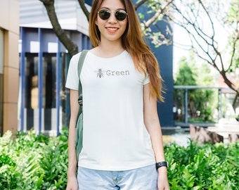 Bee Green, Bee on back Women's Tee