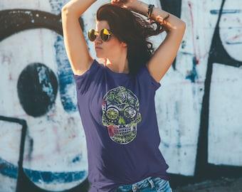 Sugar Skull with Jungle Print on Navy T-Shirt/Unisex Tee