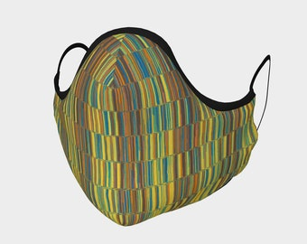 Colorful Stripes Face Mask, Boho Hippie Face Mask