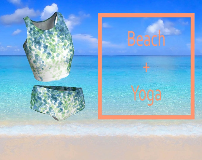 Beach Yoga Set, Crop Top and Bikini Bottoms Pair. Yoga wear, Beach wear.