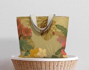 Khaki Floral Tote Bag, Floral Beach Bag