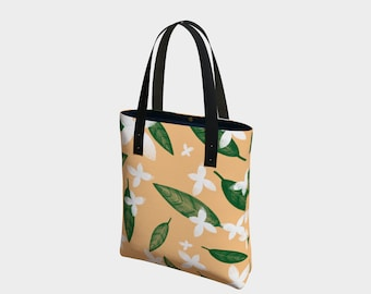 Falling Leaves and Flowers Tote Bag, Tote Bag, Totes, Shoulder Bag, Basic Tote, Urban Lined Tote, Canvas Tote Bag, Leather or Cotton Straps