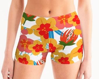 Flower Power Women's Mid-Rise Yoga Shorts