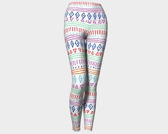 Summer Tribe Yoga Leggings, Geometric Yoga Leggings, Yoga Leggings, Yoga Pants, Leggings, Printed Leggings, Women's Leggings