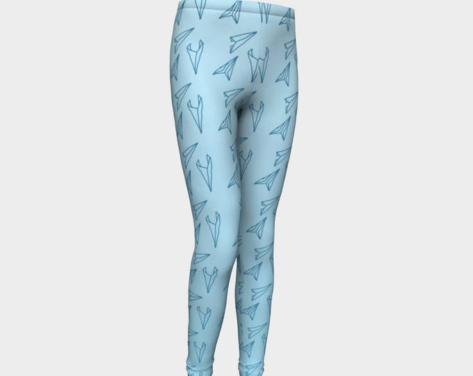 Girls Leggings, Blue Paper Airplane Leggings, Girls Yoga Leggings, Leggings, Girls Clothes, Back to School Leggings, Girls Yoga Pants