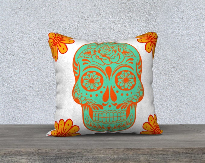 Sugar Skull Decorator Pillow, Pillow Cover, Sofa Pillow, Throw Pillow, Accent Pillow