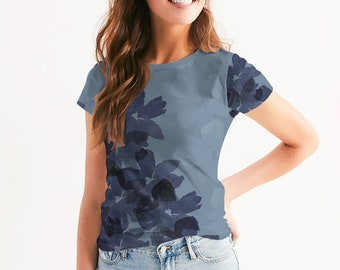 Women's Blue Floral Tee, Faded Indigo Petals on a dusty blue background