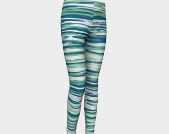 Girls Leggings, blue and green Striped Leggings, Girls Yoga Leggings, Leggings, Girls Clothes, Back to School Leggings, Girls Yoga Pants