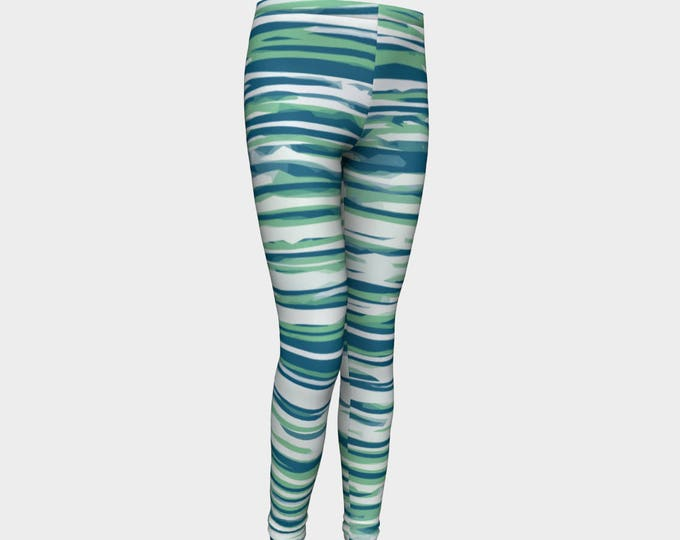 Girls Leggings, blue and green Striped Leggings, Girls Yoga Leggings, Leggings, Girls Clothes, Back to School Leggings, Girls Yoga Pants