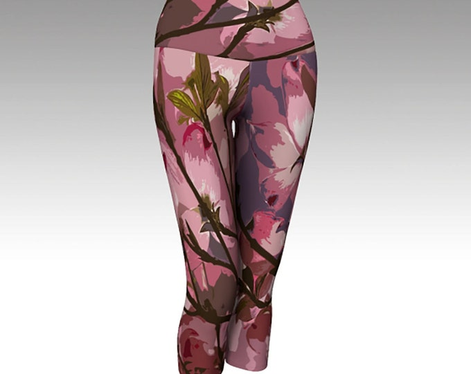 Pink Dogwood Capris, Women's Capris, CAPRIS, Yoga Capris, Printed Capris, Art Capris