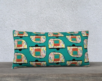 Vintage Desert Camper Long Pillow Cover, Lumbar Pillow, Throw Pillow, Sofa Pillow