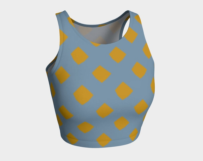 Blue and Gold lattice Crop Top