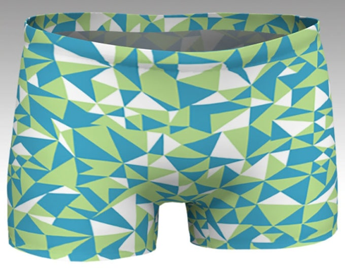 NEW!, Geometric Shorts, Blue, Green Boy Shorts, Women's Shorts, Yoga Shorts, Swim Shorts, Athletic Shorts, Match with Geometric Crop Top