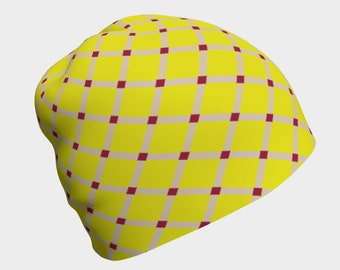 Yellow/Red Lattice Beanie