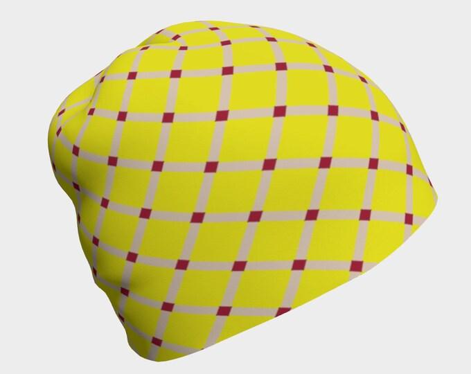 Yellow/Red Lattice Beanie