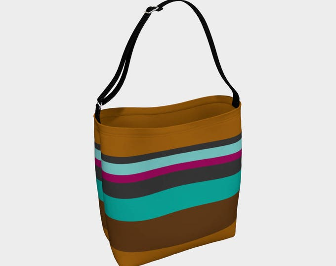 Striped Tote Bag, Brown and Blue Striped Bag, Large Tote Bag, Beach Bag, Book Tote, Printed Tote Bag inside and out, Customized Strap