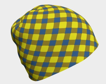 Blue and Yellow Lattice Beanie