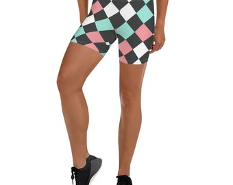 Checkerboard Blue, Pink and White Shorts