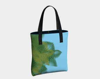 Peek a Boo Palms Blue Canvas Tote Bag, Tote Bag, Totes, Shoulder Bag, Tote with Pockets, Basic Tote, Urban Tote Bag, Leather/Cotton Straps