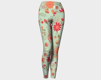 Poppy Flower Leggings, Yoga Leggings, Yoga Pants, High Waist, Floral Yoga Leggings, Leggings, Printed Leggings, Women's Leggings