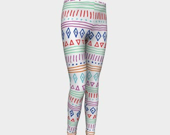 Girls Leggings, Tribal Pattern Leggings, Girls Yoga Leggings, Leggings, Girls Clothes, Dance Leggings, Girls Yoga Pants, Gift for Girl