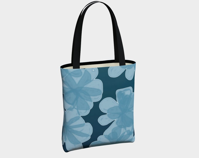 Indigo Blue Flower Tote Bag, Canvas Tote Bag, Floral Tote Bag, Shoulder Bag, Basic Tote Bag, Urban Tote Bag, Tote with Pockets