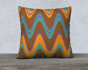 Mid-Century Modern Pillow Cover, Groovy Brown and Blue Wavy Lines, Accent Pillow, Modern Pillow