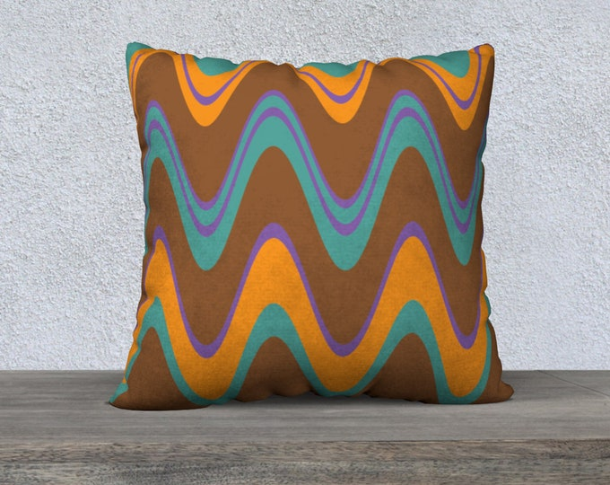 Featured listing image: Mid-Century Modern Pillow Cover, Groovy Brown and Blue Wavy Lines, Accent Pillow, Modern Pillow