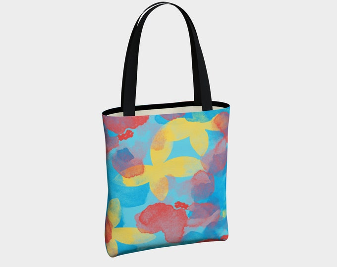 Aloha Floral Tote Bag, Canvas Tote Bag, Tote Bag, Shoulder Bag, Tote with Pockets, Basic Tote Bag, Urban Tote Bag, Fashion Tote