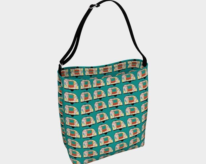 Desert Camper Tote Bag, Vintage Camper Tote, Green Tote, Book Tote, Large Tote Bag, Tote Bag, Customizable Strap