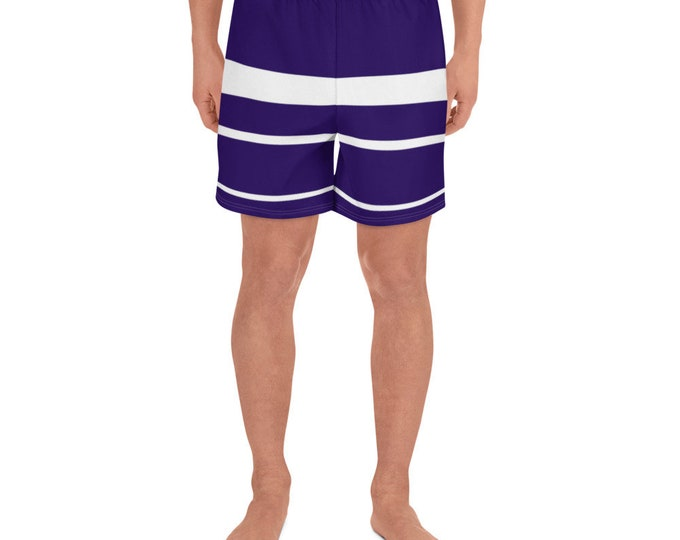 Navy and White Striped Men's Swim Trunks/Athletic Long Shorts