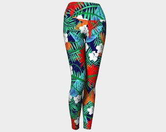 Midnight in the Jungle Yoga Leggings, Yoga Leggings, Women's Leggings, Printed Leggings, Yoga Pants