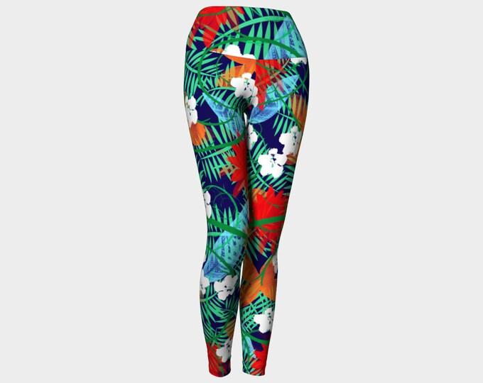 Midnight in the Jungle Yoga Leggings, Yoga Leggings, Women's Leggings, Printed Leggings, Yoga Pants